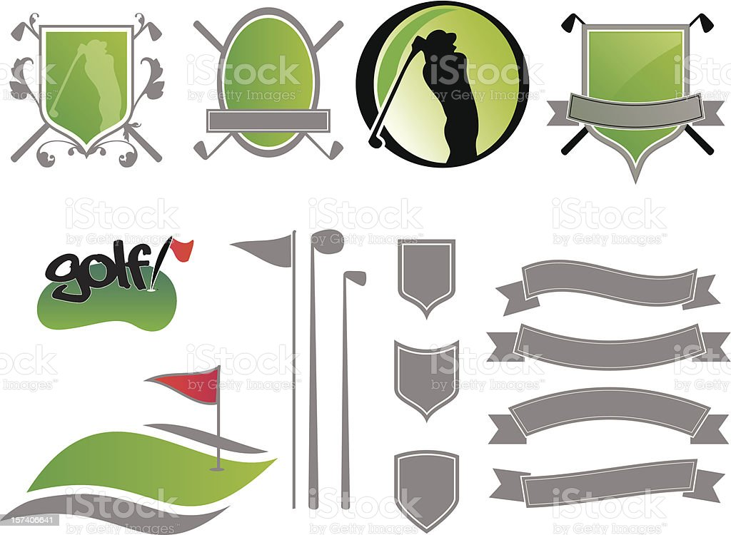 Golf Badges vector art illustration