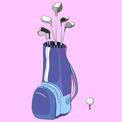 Golf bag with golf clubs multicolored