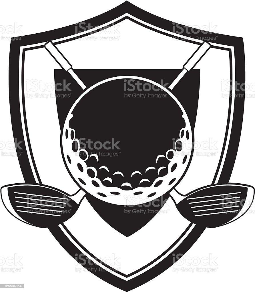 Golf Ball and Club Badge royalty-free stock vector art