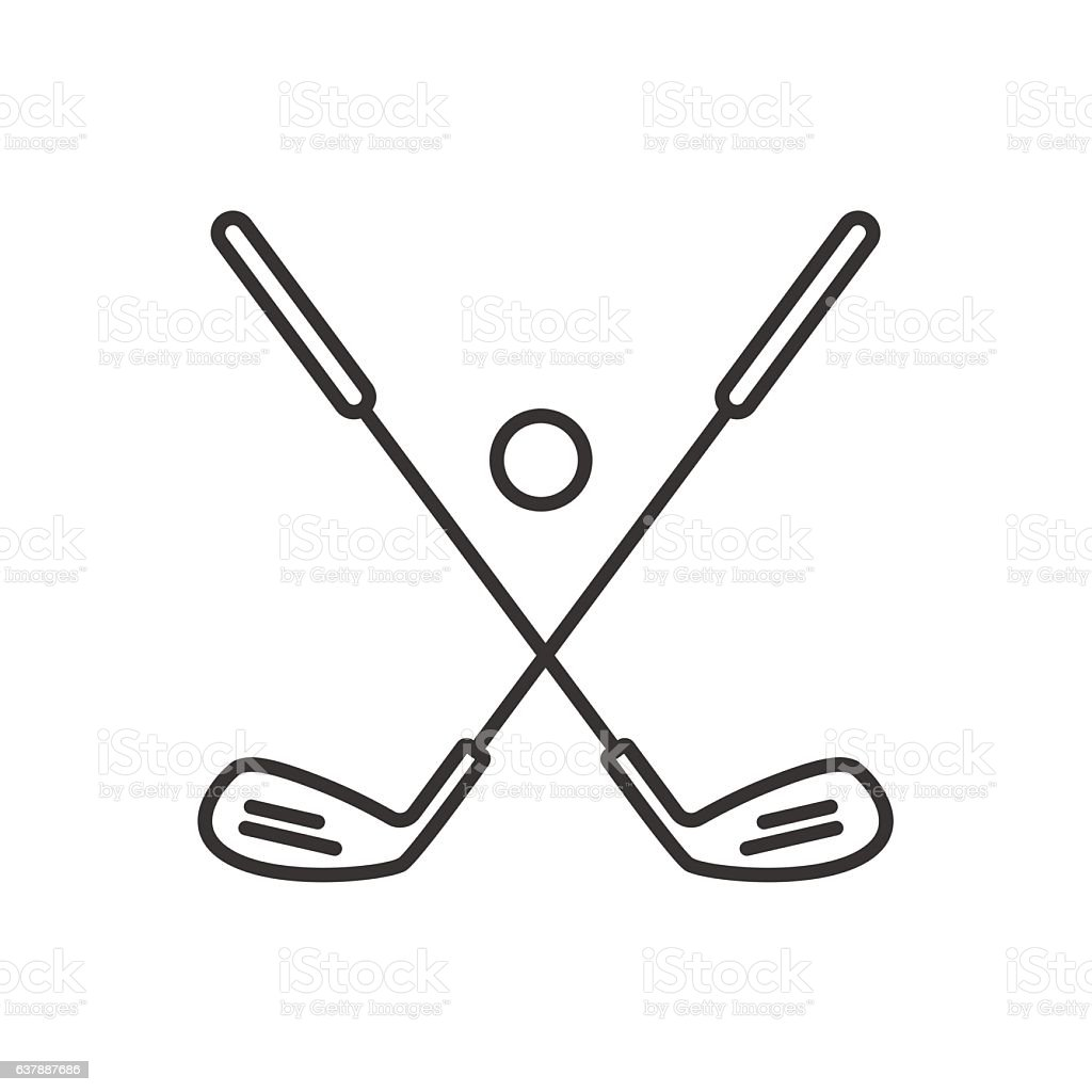Golf ball and clubs icon vector art illustration