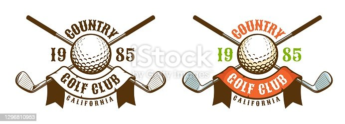 istock Golf ball and clubs vintage logo 1296810953