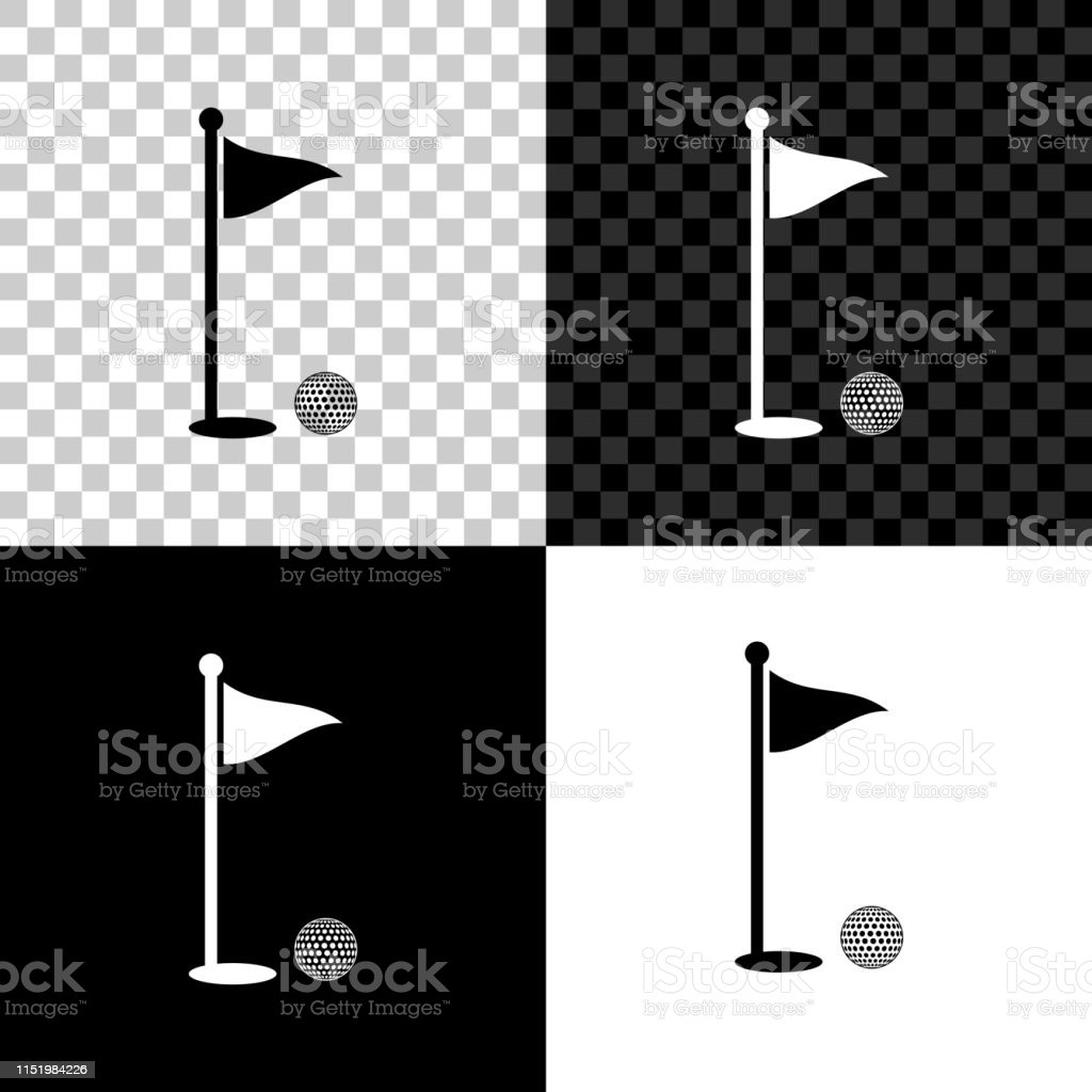 Golf Ball And Hole With Flag Icon Isolated On Black White And Transparent Background Golf Course Ball And Flagstick In Hole Sport Concept Vector Illustration Stock Illustration Download Image Now Istock