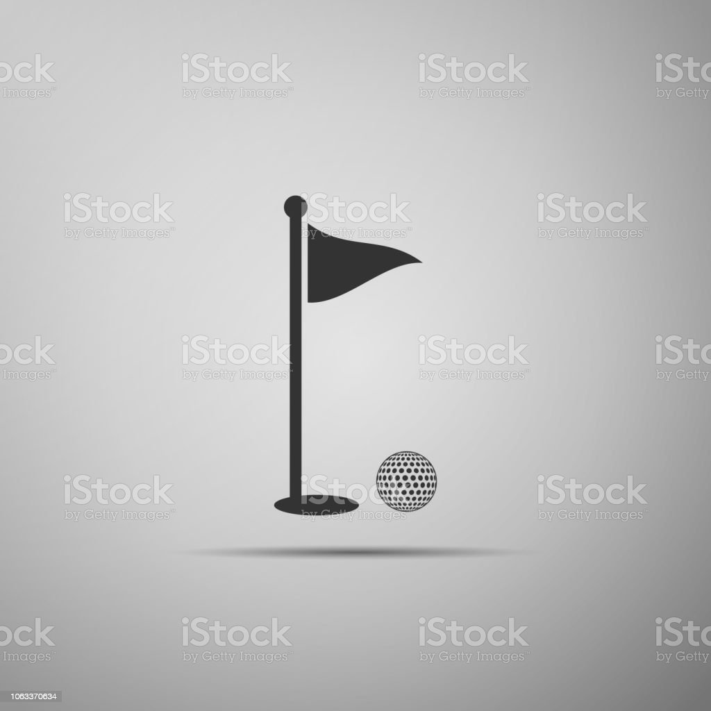 Golf ball and hole with flag icon isolated on grey background. Golf...