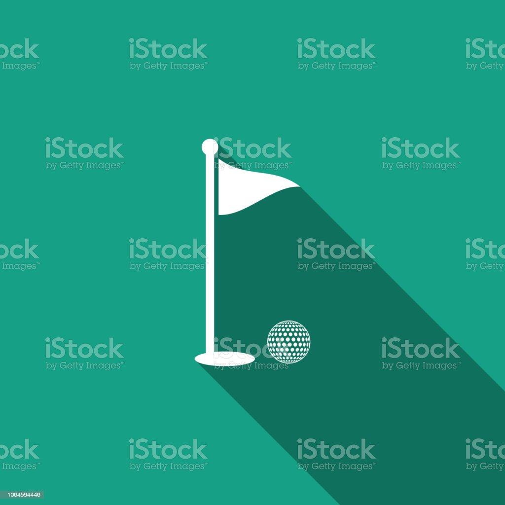 Golf ball and hole with flag icon isolated with long shadow. Golf...