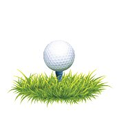 052d5ad9 Vector Photo Realistic Illustration Of White Golf Ball And Tee In The Green  Grass. Close