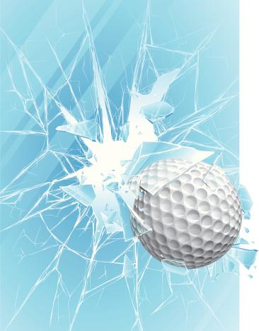 Golf ball & broken glass
