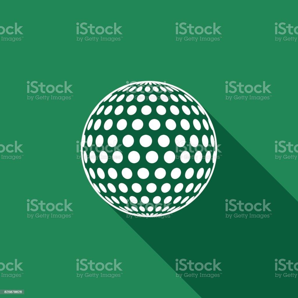 Ícone plana bola de golfe com sombra longa. Ilustração vetorial - ilustração de arte em vetor