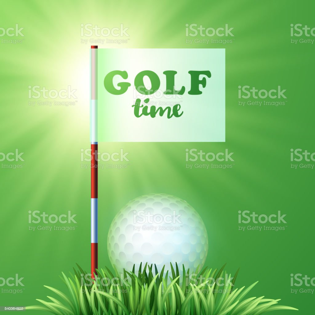 Golf ball, green grass, flag. Sport design. Golf time. Workshop banner