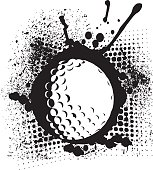 Golf Ball Grunge Graphic Design