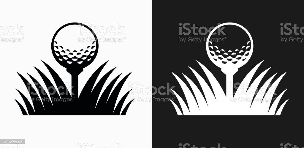 Ícone de bola de golfe em preto e branco Vector Backgrounds - ilustração de arte em vetor