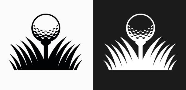 golf ball icon on black and white vector backgrounds - мяч для гольфа stock illustrations