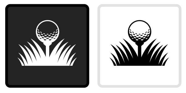 Golf Ball Icon on  Black Button with White Rollover vector art illustration