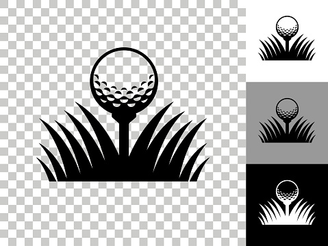 Golf Ball Icon on Checkerboard Transparent Background