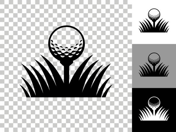 Golf Ball Icon on Checkerboard Transparent Background vector art illustration