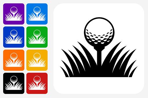 Golf Ball Icon Square Button Set
