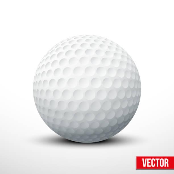 ilustrações de stock, clip art, desenhos animados e ícones de bola de golfe isolada no branco com traçado de recorte - golf