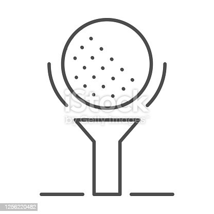 Golf ball on tee thin line icon, golfing concept, golfball sign on white background, golf ball icon in outline style for mobile concept and web design. Vector graphics