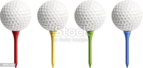 Golf balls on different color tee