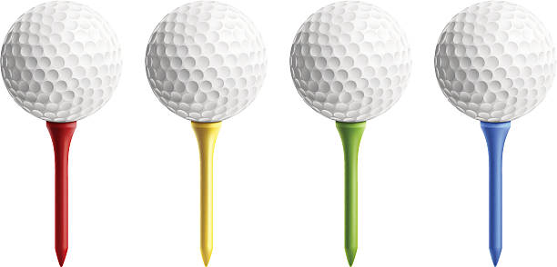 Golf Ball on Tee Golf balls on different color tee  golf ball stock illustrations
