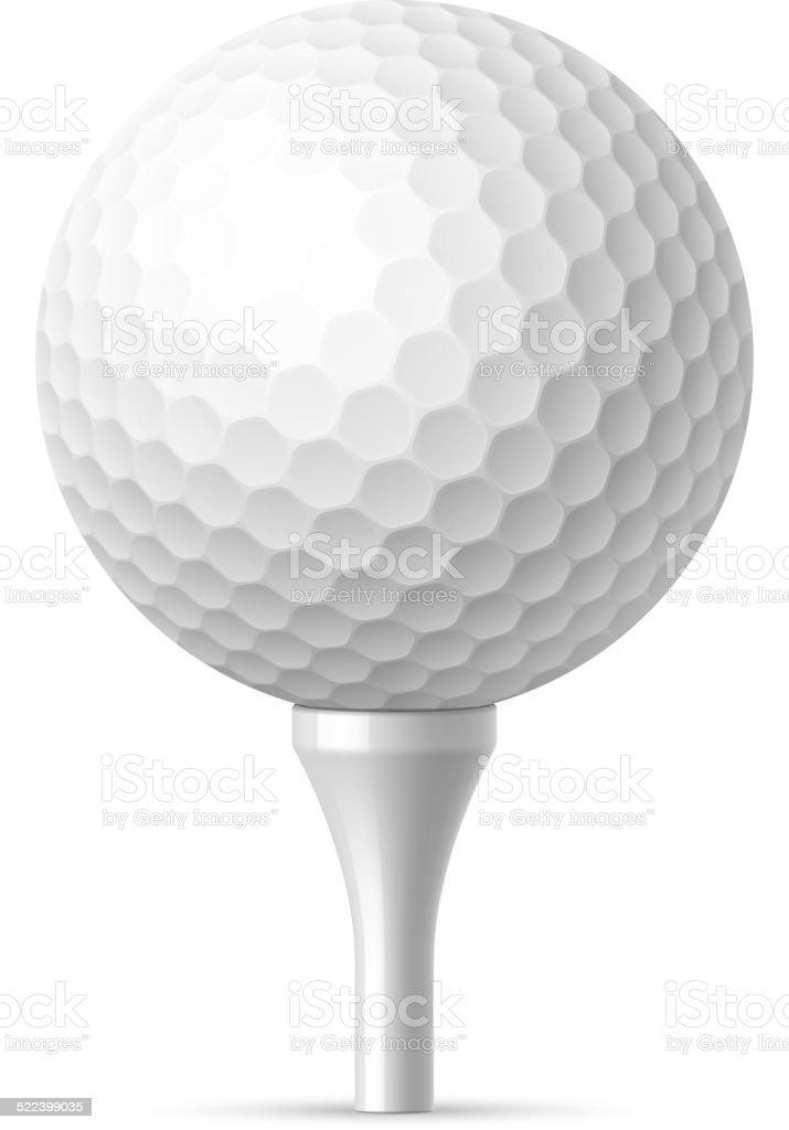 Bola de golfe na camiseta branca - ilustração de arte em vetor