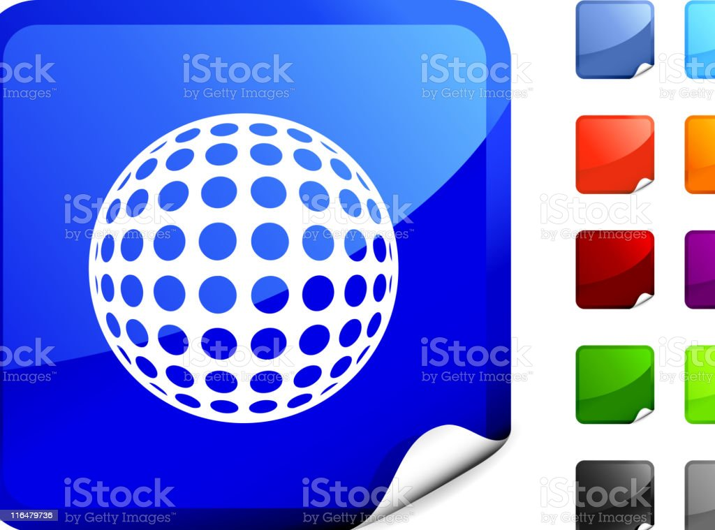 golf ball royalty free vector art on Blue Sticker royalty-free stock vector art