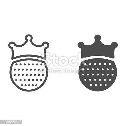 istock Golf ball with crown line and solid icon, sports concept, King of golf sign on white background, golfball wearing crown icon in outline style for mobile concept and web design. Vector graphics. 1256225547