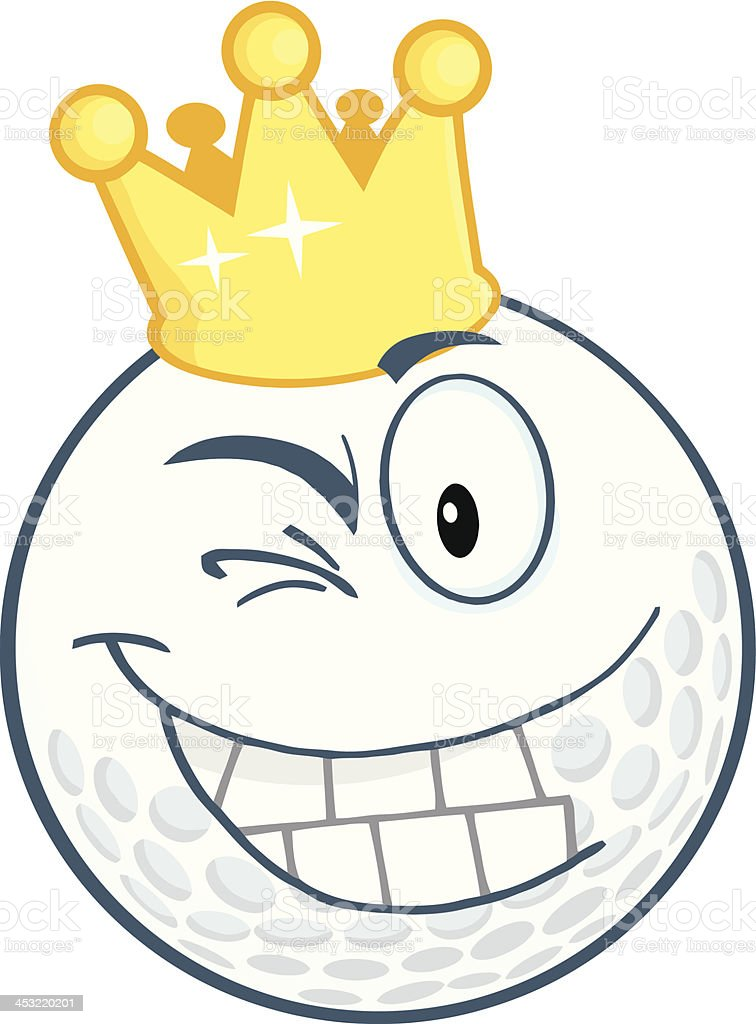 Golf Ball With Gold Crown Winking royalty-free golf ball with gold crown winking stock vector art & more images of cartoon