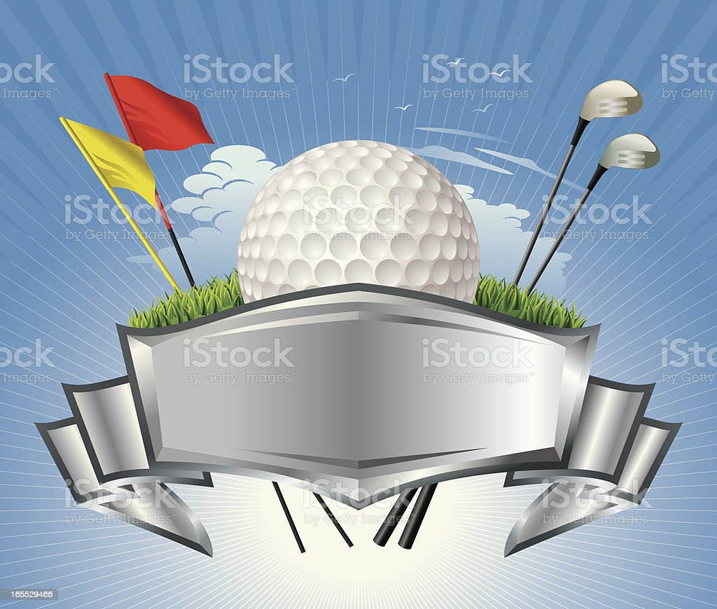 Golf Ball with Metallic Crest Vector royalty-free golf ball with metallic crest vector stock vector art & more images of bird