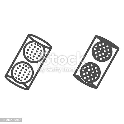 istock Golf Balls in box line and solid icon, equipment and sport concept, golfball sign on white background, Golf balls icon in outline style for mobile concept and web design. Vector graphics. 1256226367