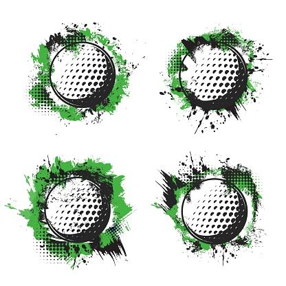 Golf balls on green tee, hit splash halftone badge