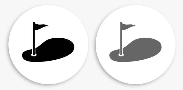 Golf Black and White Round Icon Golf Black and White Round Icon. This 100% royalty free vector illustration is featuring a round button with a drop shadow and the main icon is depicted in black and in grey for a roll-over effect. golf icon stock illustrations