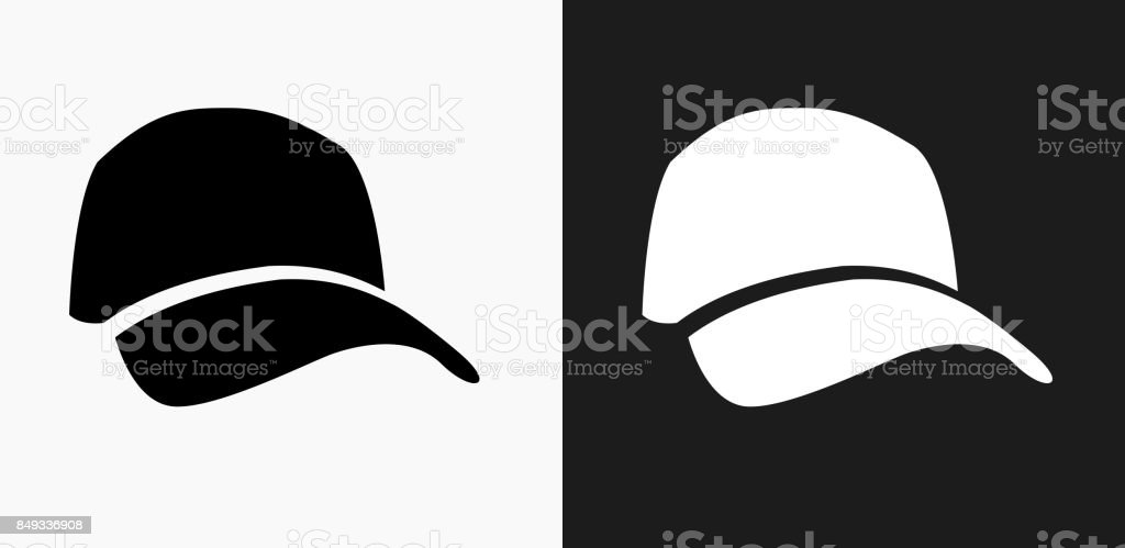 Golf Cap Icon on Black and White Vector Backgrounds