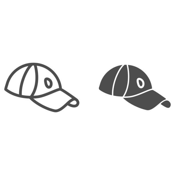 골프 캡 라인과 단단한 아이콘, 의류 컨셉, 흰색 배경에 캡 사인, 모바일 컨셉과 웹 디자인을위한 윤곽 스타일 스포츠 모자 아이콘. 벡터 그래픽. - 모자 모자류 stock illustrations
