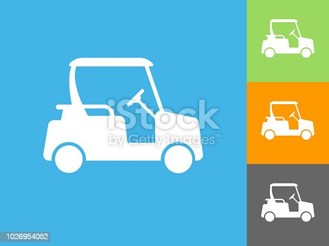 Golf Cart Flat Icon on Blue Background. The icon is depicted on Blue Background. There are three more background color variations included in this file. The icon is rendered in white color and the background is blue.