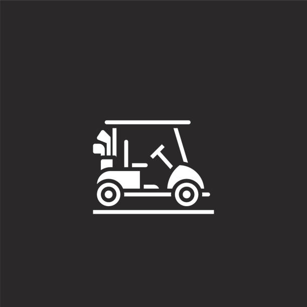 golf cart icon. Filled golf cart icon for website design and mobile, app development. golf cart icon from filled golf collection isolated on black background. golf cart icon. Filled golf cart icon for website design and mobile, app development. golf cart icon from filled golf collection isolated on black background. golf cart stock illustrations