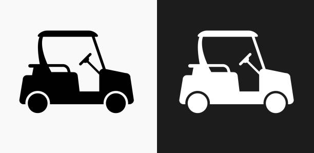 Golf Cart Icon on Black and White Vector Backgrounds Golf Cart Icon on Black and White Vector Backgrounds. This vector illustration includes two variations of the icon one in black on a light background on the left and another version in white on a dark background positioned on the right. The vector icon is simple yet elegant and can be used in a variety of ways including website or mobile application icon. This royalty free image is 100% vector based and all design elements can be scaled to any size. golf cart stock illustrations