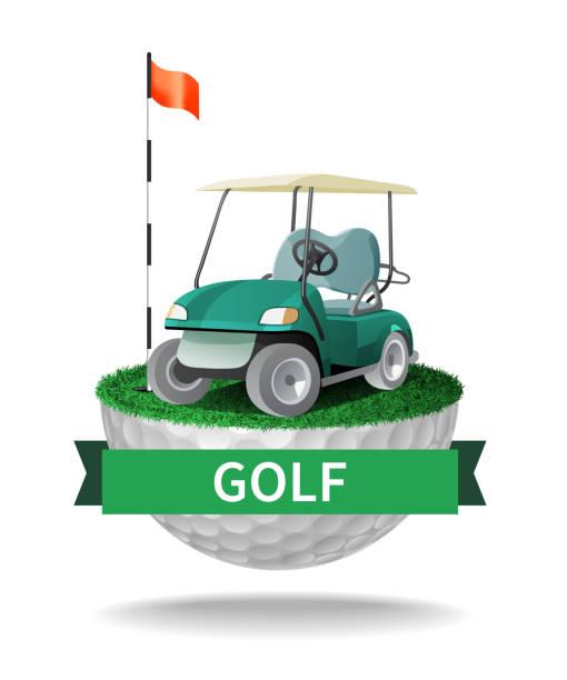 Golf cart on half golf ball with grass Golf cart on half golf ball with grass. Abstract isolated color vector illustration golf cart stock illustrations