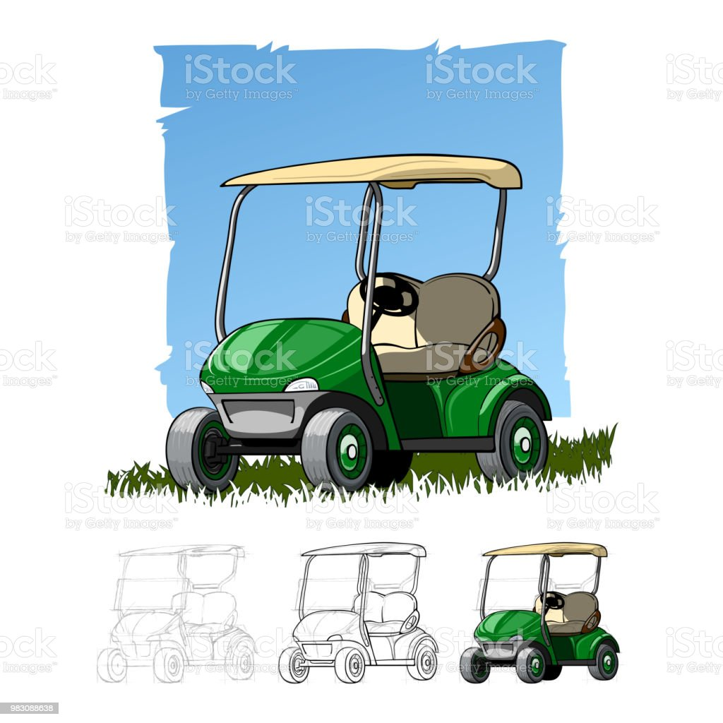 Golf Cart Sketch Drawing Stock Vector Art More Images Of