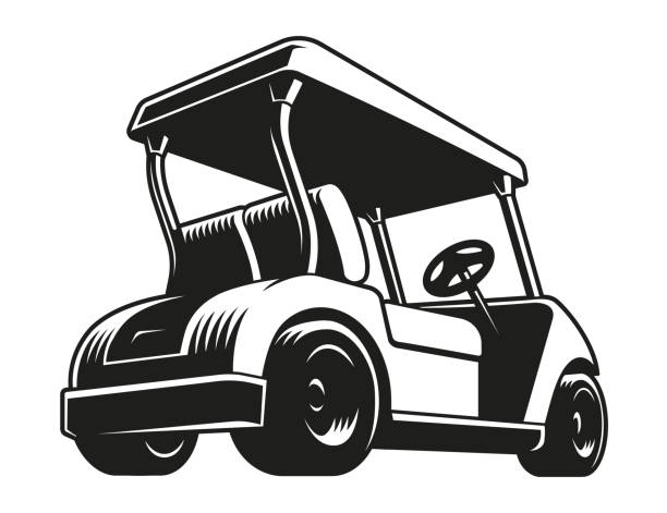Golf cart vector Golf cart vector. Monochrome icon, isolated on white. golf cart stock illustrations
