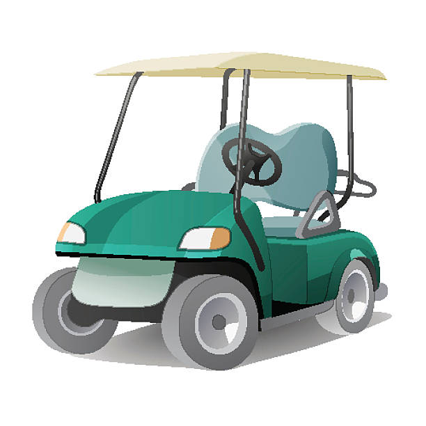 Golf cart with shadow Golf cart with shadow. Abstract isolated color vector illstration golf cart stock illustrations