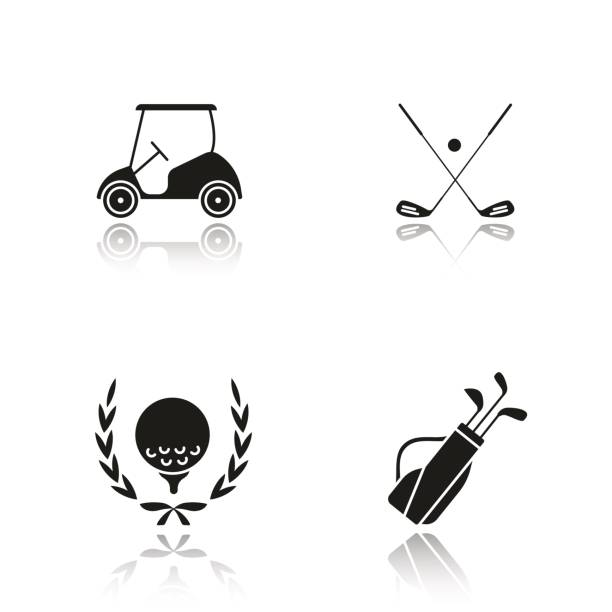 Golf championship icons Golf championship drop shadow vector icons set. Ball in laurel wreath, crossed clubs, cart and bag golf cart stock illustrations