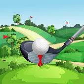 Golf club and ball on green golf course, vector illustration. Summer landscape cartoon background