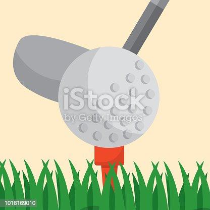 golf club ball on a tee grass sport vector illustration