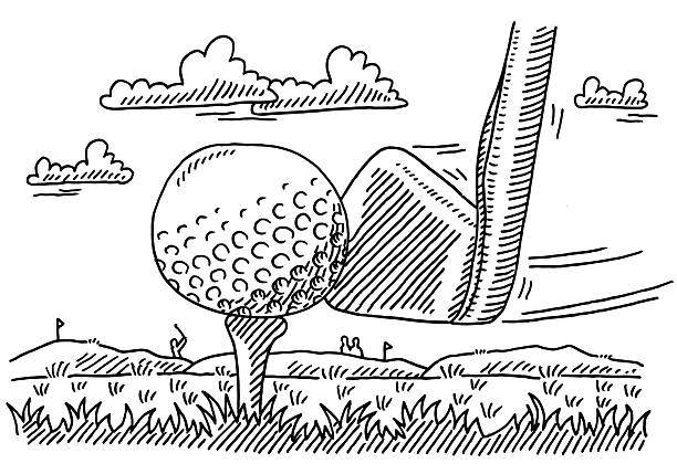 Golf Club Ball Tee Sport Drawing Hand-drawn vector drawing of a Golf Club Close-up of Hitting the Ball on a Tee, Golf Sport Image. Black-and-White sketch on a transparent background (.eps-file). Included files are EPS (v10) and Hi-Res JPG. sport stock illustrations