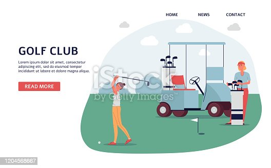 Golf club banner on landing page template - golfer woman on green outdoor course with golfing cart ready to hit the ball. Flat vector illustration of sport game.