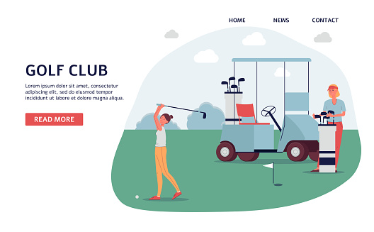 Golf club banner on landing page - golfer woman on green course