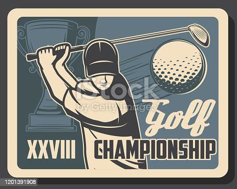 Golf club tournament, premium leisure sport and best recreation championship cup vintage retro poster. Vector professional golf gamer striking ball with stick on green putter