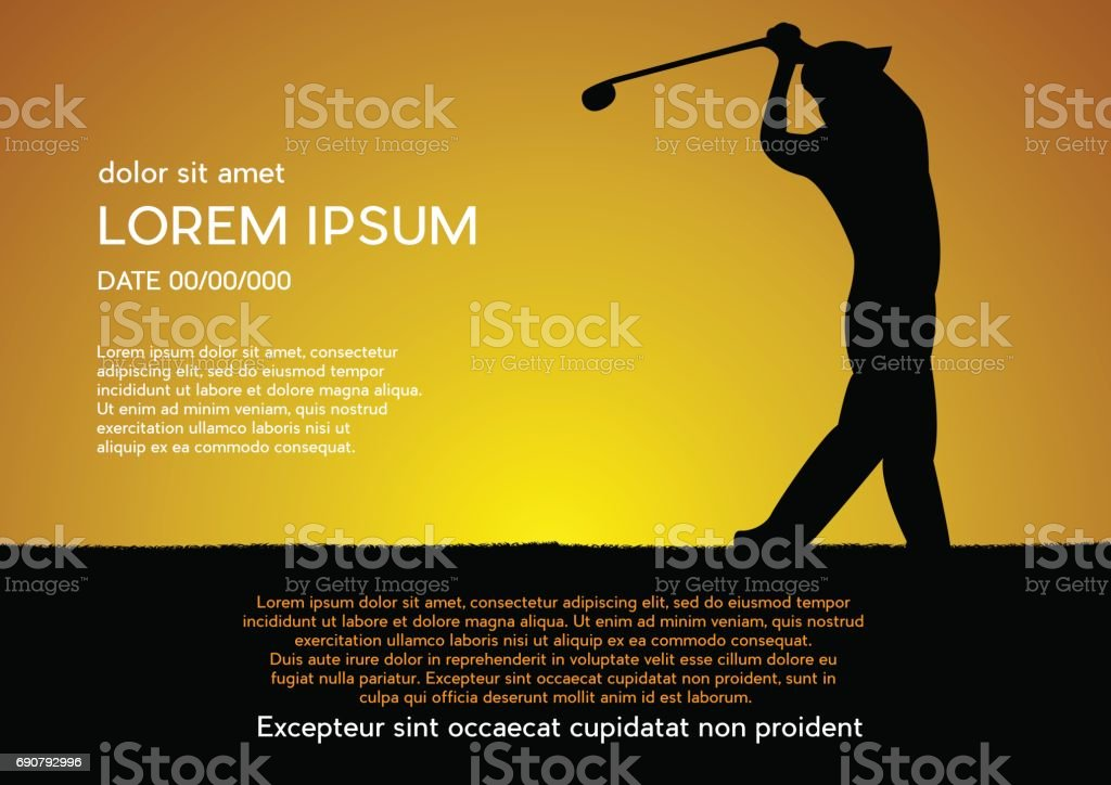 Tournoi de golf club concours, fond coucher de soleil. Affiche de vecteur avec homme jeu sur vert - Illustration vectorielle