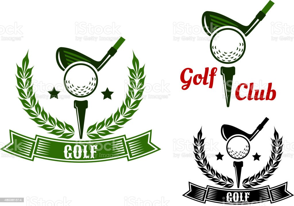 Golf club emblems with first stroke from tee vector art illustration