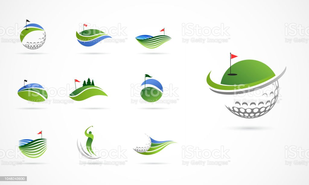 Golf club icônes, symboles, éléments et collection de logo - Illustration vectorielle